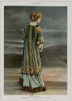 Redfern (couture) - Gilda Darthy in a dinner dress and coat by Redfern, Les Modes, February 1908