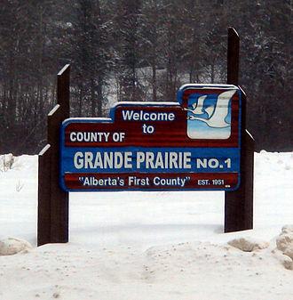 County of Grande Prairie No. 1 - Boundary sign