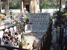 Tomba di Pio La Torre nel Cimitero dei Cappuccini a Palermo