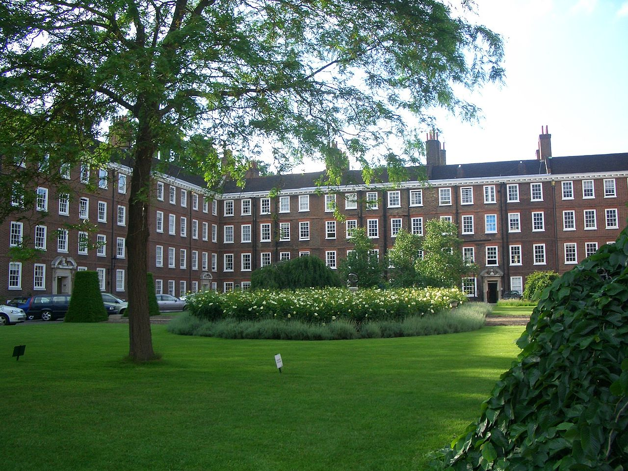 A grassy foreground, with a tall tree and shrubs, with a terrace of red brick buildings in the background and left side