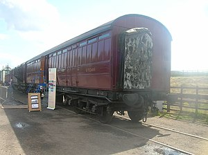 Gangway connection - A preserved LNER post office stowage tender with offset gangway connection