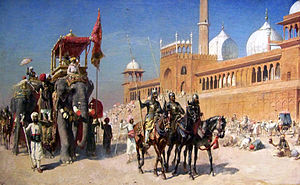 Army of the Mughal Empire - Great Mogul And His Court Returning From The Great Mosque At Delhi India - Oil Painting by American Artist Edwin Lord Weeks