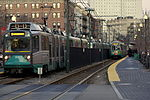 Green Line trains at Northeastern, January 2008.jpg