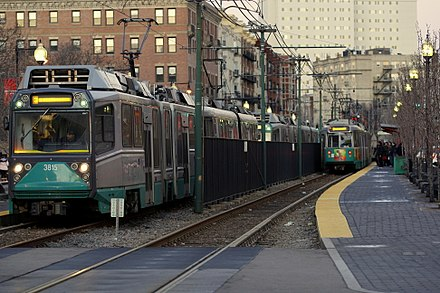The Green Line in Boston Green Line trains at Northeastern, January 2008.jpg