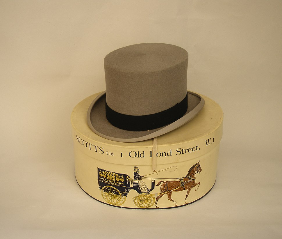Grey top hat by Scotts Ltd of Old Bond Street, London, with hatbox, 1950