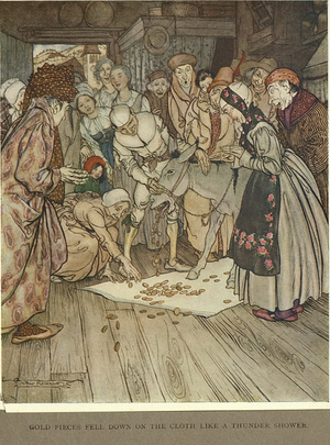 The Wishing-Table, the Gold-Ass, and the Cudgel in the Sack - Arthur Rackham, 1917