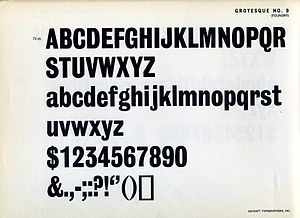 Grotesque (Stephenson Blake typefaces) - Grotesque No. 9 on a metal type specimen sheet