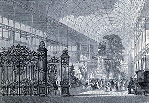"Royal Commission for the Exhibition of 1851 - The Great Exhibition: Paxton's ""Crystal Palace"" enclosed full-grown trees in Hyde Park."