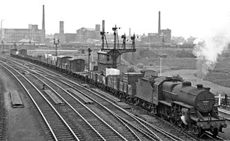 Guide Bridge railway station - Eastbound freight approaching Dewsnap Sidings at Guide Bridge East Junction in 1951