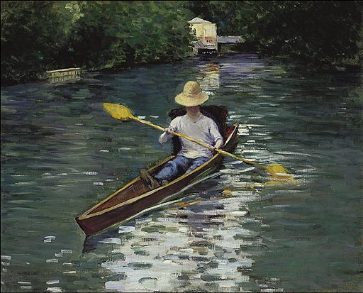 """Canoe on the Yerres River"" by Gustave Caillebotte"