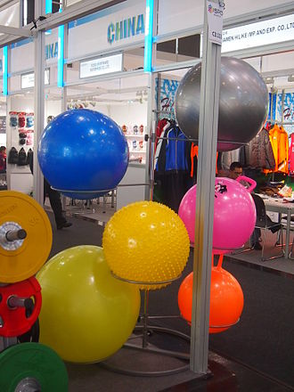 Exercise ball - Different types and sizes of balls at ISPO-fair 2014