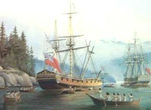 Stanley Park - A painting of ships used in George Vancouver's exploration of the west coast of North America in his 1791-95 expedition.