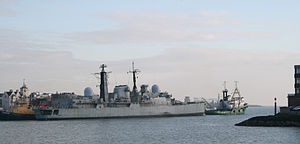 HMS Glasgow (D88) - Glasgow leaving HMNB Portsmouth on tow to the breakers