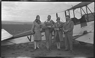 Horrie Miller (aviator) - Miller and friends with DH 60 Gipsy moth VH-UJX. Miller is 2nd from left