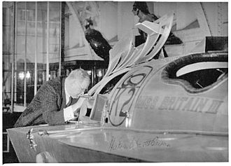 Miss Britain III - Hubert Scott-Paine after presenting Miss Britain III to the National Maritime Museum in 1951