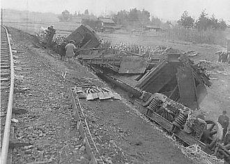 Hachikō Line derailment - Image: Hachiko Line Rail Accident in 1947