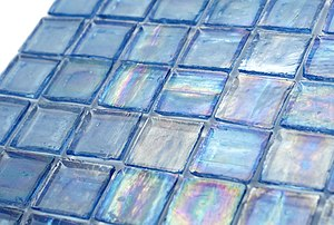 "English: 1"" x 1"" glass mosaic tile"