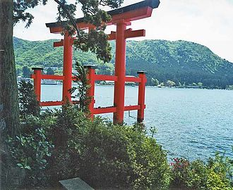 Hakone Shrine - Torii of Hakone Shrine at Lake Ashi