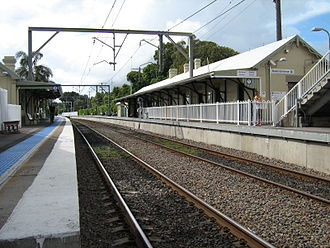 Newcastle railway line, New South Wales - Platform-level view of the Newcastle railway line as it runs through Hamilton