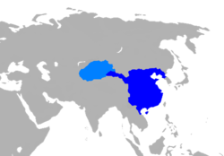 A map of the Western Han dynasty in 2 AD[1] * .mw-parser-output .legend{page-break-inside:avoid;break-inside:avoid-column}.mw-parser-output .legend-color{display:inline-block;min-width:1.25em;height:1.25em;line-height:1.25;margin:1px 0;text-align:center;border:1px solid black;background-color:transparent;color:black}.mw-parser-output .legend-text{}  principalities and centrally-administered commanderies * .mw-parser-output .legend{page-break-inside:avoid;break-inside:avoid-column}.mw-parser-output .legend-color{display:inline-block;min-width:1.25em;height:1.25em;line-height:1.25;margin:1px 0;text-align:center;border:1px solid black;background-color:transparent;color:black}.mw-parser-output .legend-text{}  protectorate of the Western Regions (Tarim Basin)