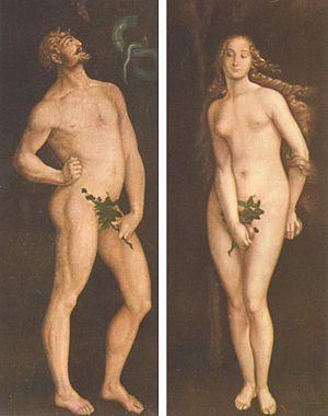 La représentation du nu et de la sexualité humaine sous l'influence du christianisme: le cache-sexe.Peinture Renaissance de Hans Baldung.