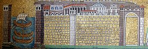 Classe, ancient port of Ravenna - Mosaic in the Basilica of Sant'Apollinare Nuovo showing the military port of Classe