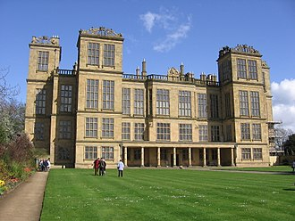 Elizabethan architecture - English Renaissance: Hardwick Hall (1590–1597), a classic prodigy house.  The numerous and large mullioned windows are typically English Renaissance, while the loggia is Italian.