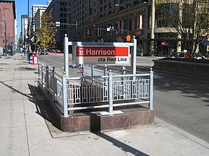 Harrison station (CTA) - Street level staircase entrance to the station