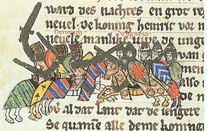 Battle of Riade - Henry I fights against the Magyars, Sächsische Weltchronik, c. 1270
