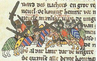 Battle of Riade - Henry I fights against the Magyars, Sächsische Weltchronik, c. 1270