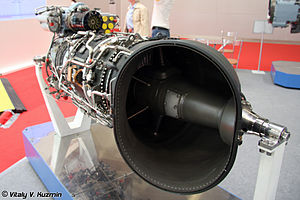 Free-turbine turboshaft - Ukrainian MS-14VM helicopter engine, with typical side-mounted exhaust and with the output power shaft from the turbine passing through it