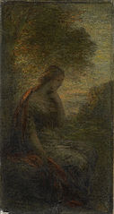 Young Woman under a Tree at Sunset, called 'Autumn'