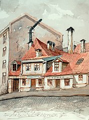 Øvre Slottsgate No 7 / Denne gaard lå i sin tid alene på festningsvoldene og blev (efter gamle vagtmester Larsen, Kirkedep), beboet av offiserer.