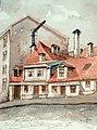 Henrik Backer - Øvre Slottsgate No 7 Denne gaard lå i sin tid alene på festningsvoldene og blev (efter gamle vagtmester Larsen, Kirkedep), beboet av offiserer. - 1937 - Oslo Museum - OB.06173.jpg