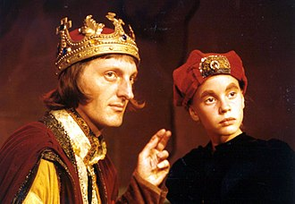 Shakespearean history - Henry VI (Jeffrey T. Heyer) and a young Richmond (Ashley Rose Miller) in the West Coast premiere of The Plantagenets: The Rise of Edward IV, staged by Pacific Repertory Theatre in 1993.