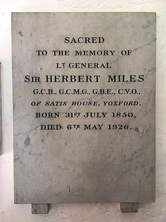 Herbert Miles - Herbert Miles memorial in St Peter's Church, Yoxford, Suffolk