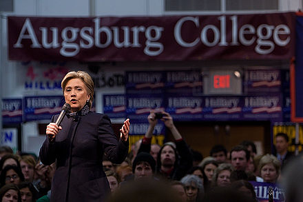 Clinton campaigning at Augsburg College in Minneapolis, Minnesota, two days before Super Tuesday, 2008 Hillary Clinton Feb 3 2008.jpg