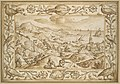 Hilly Coastal Landscape with Hunters, with an elaborate border of Fishes and Birds MET DP118683.jpg