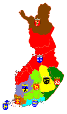 Historical provinces in Finland with coats of arms.png