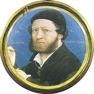 Lucas Horenbout - Hans Holbein the Younger, 1543, Horenbout copied a self-portrait drawing.