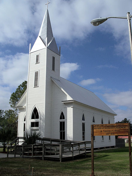 The historic Homeland Methodist Church just south of town
