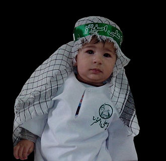 Ali al-Asghar ibn Husayn - In the Hosseini infancy conference, babies wear green or white cloth like cloth of Ali al-Asghar ibn Husayn
