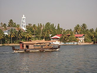 Kerala backwaters - A houseboat - Scene from Thevally, Kollam