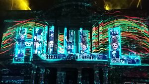 Hull UK City of Culture 2017 - Hull City Hall illuminated at the opening event for Hull City of Culture 2017 event