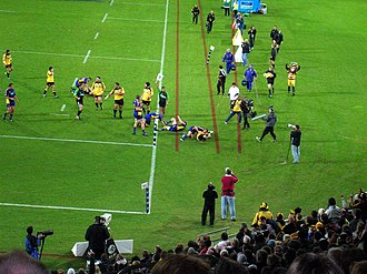 Hurricanes (rugby union) - The Hurricanes playing the Highlanders at Westpac Stadium in 2006