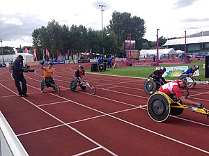 2014 IPC Athletics European Championships - The final of the men's T54 400m sprint. The Netherlands' Kenny van Weeghel celebrates the gold medal during the victory lap.