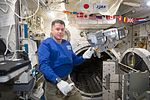 ISS-50 Shane Kimbrough with an ammonia leak locator in the Kibo lab.jpg