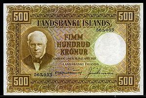 Icelandic króna - Image: Iceland 500 Kronur banknote of 1928