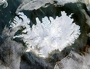 Iceland, as seen from space on 29 January 2004 (NASA).