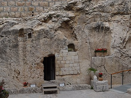 The Garden Tomb in Jerusalem - a new holy site established by British Protestants in the 19th century. In Front of the Garden Tomb.JPG